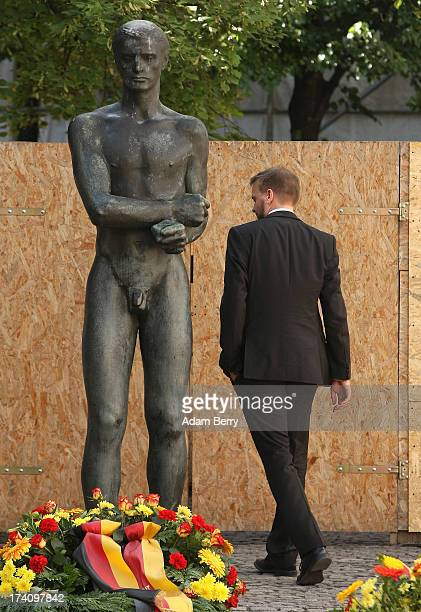 A visitor walks through a memorial to the planners of the 1944 assassination attempt on Adolf Hitler on the 69th anniversary of the failed mission on...