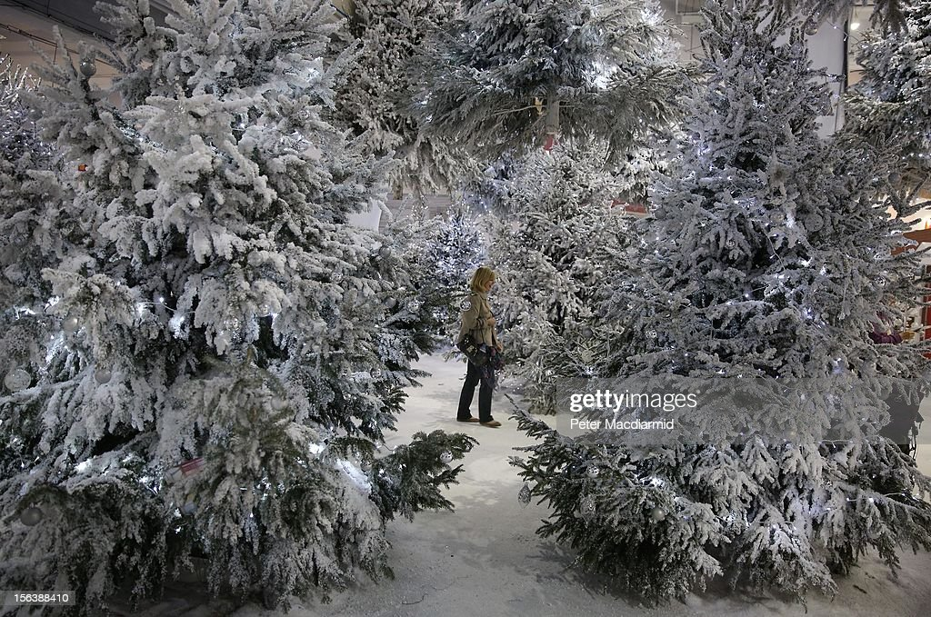 A visitor walks through a winter snow scene at The Ideal Home Christmas Show on November 14, 2012 in London, England. Over 400 exhibitors are showcasing a range of gift ideas for Christmas at the Earls Court exhibition centre.