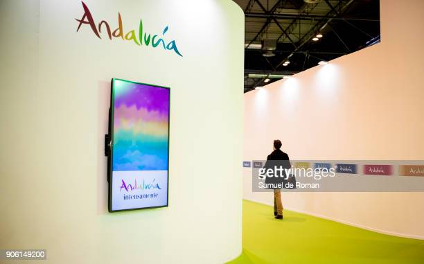 Visitor walks through the Andalucia stand at FITUR International Tourism Fair 2018 at Ifema on January 17 2018 in Madrid Spain Prime Minister Mariano...