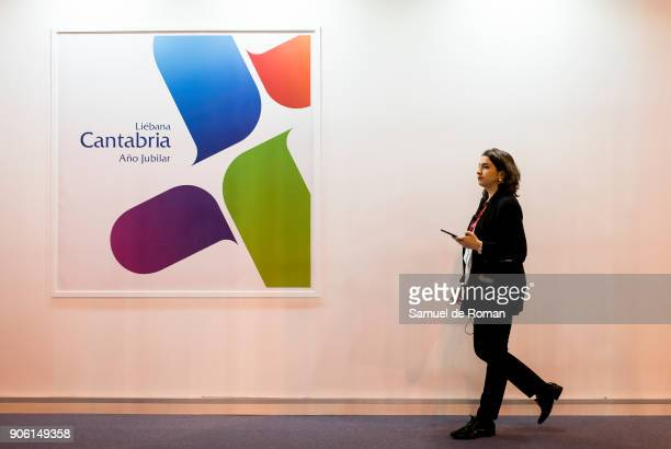 Visitor walks through the Cantabria stand at FITUR International Tourism Fair 2018 at Ifema on January 17 2018 in Madrid Spain Prime Minister Mariano...