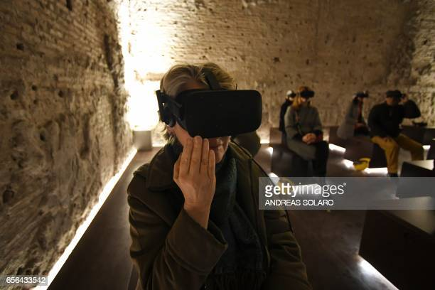 Visitor wear special 3D viewing devices in one of the rooms of of the Domus Aurea a large palace built by the Roman Emperor Nero in the first century...