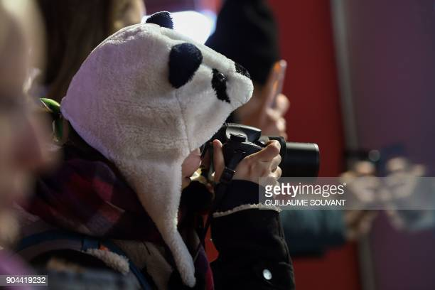 A visitor wearing a plush cap in the shape of a panda head takes pictures of the panda cub named Yuan Meng inside its new enclosure during its first...