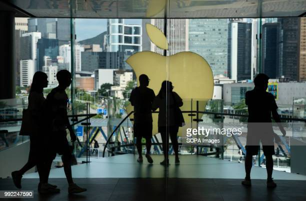 Visitors and buyers at the American multinational technology company Apple store in ifc shopping mall in Central Hong Kong