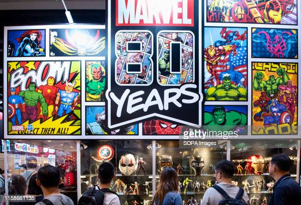 Visitors and customers seen at Disney's Marvel Studio booth during the AniCom Games event in Hong Kong