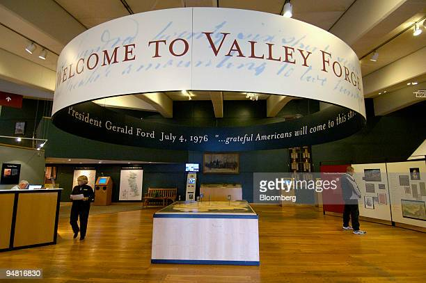 Visitors and staff are pictured inside the Welcome Center at Valley Forge National Historic Park in Valley Forge Pennsylvania Pennsylvania on...