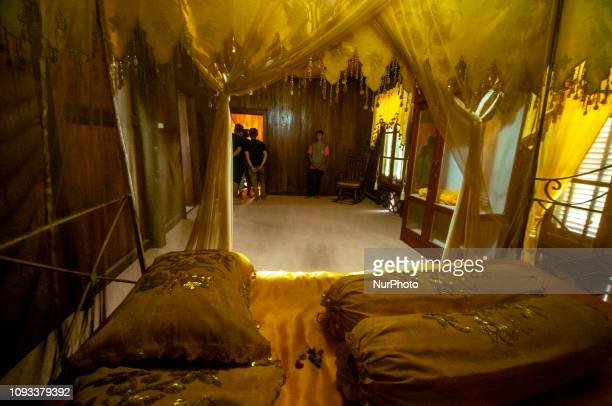 Visitors are in the bedroom of Banua Oge or Souraja in Palu Central Sulawesi Indonesia Sunday 3 February 2019 The house that was built in 1892 was...