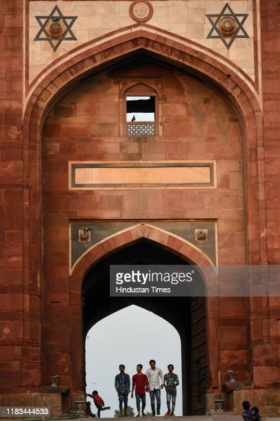 Visitors are seen at Purana Qila during the opening day of the World Heritage Week on November 19 2019 in New Delhi India Archaeological Survey of...