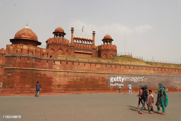 Visitors are seen at Red Fort on a hot summer day in New Delhi on 15, June 2019
