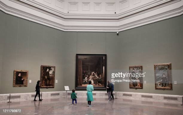 Visitors are seen at Velazquez room at Prado Museum that will not close but is taking measures against coronavirus outbreak on March 11 2020 in...