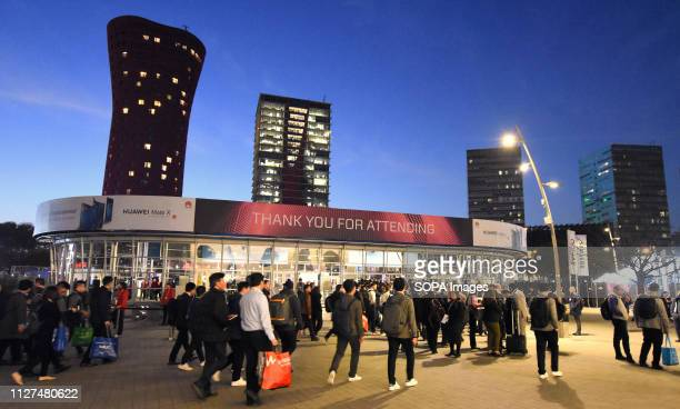 L´HOSPITALET CATALONIA SPAIN Visitors are seen departing from the Mobile World Congress in Barcelona