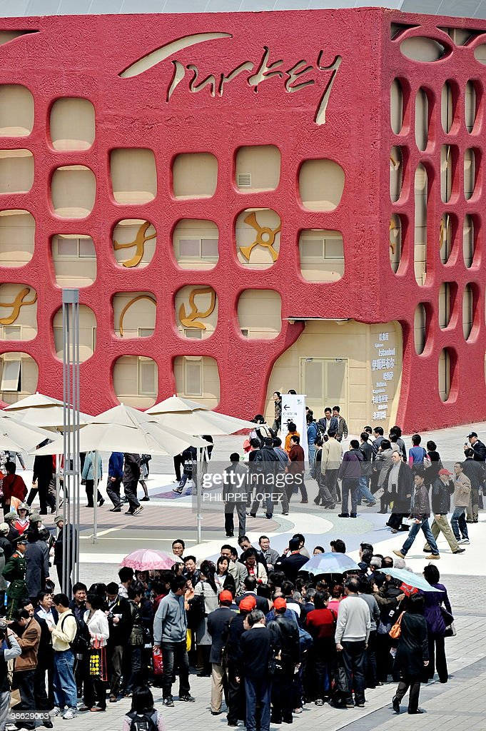 Visitors are seen in front of the Turkish pavilion at the site of the World Expo 2010 in Shanghai on April 23, 2010. Expo organisers gave members of the public a preview of the largest-ever World's Fair as they tested facilities and public transportation before the official start on May 1.
