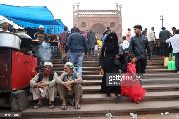 Visitors are seen near Jama Masjid in the Old Quarters of Delhi India on 16 February 2019