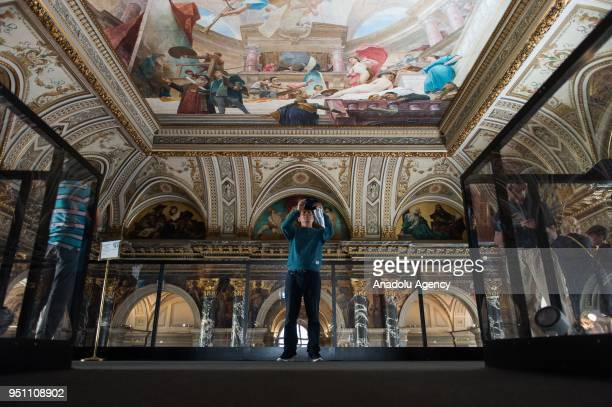Visitors are seen on the Staiway to Klimt a bridge over the staircase at Kunsthistorisches Museum Vienna Austria on April 25 2018 On the 100th...