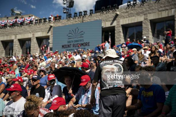 Visitors arrive ahead of an event at Mount Rushmore National Memorial in Keystone South Dakota US on Friday July 3 2020 The early Independence Day...