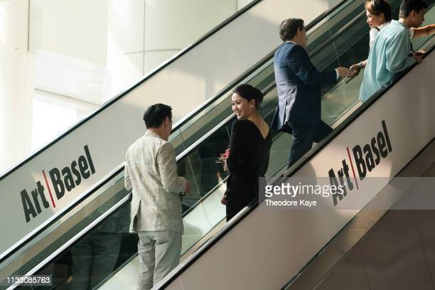 Visitors arrive at Art Basel on March 27, 2019 in Hong Kong, Hong Kong. Art Basel Hong Kong 2019 will be open to public from March 29 to March 31,...