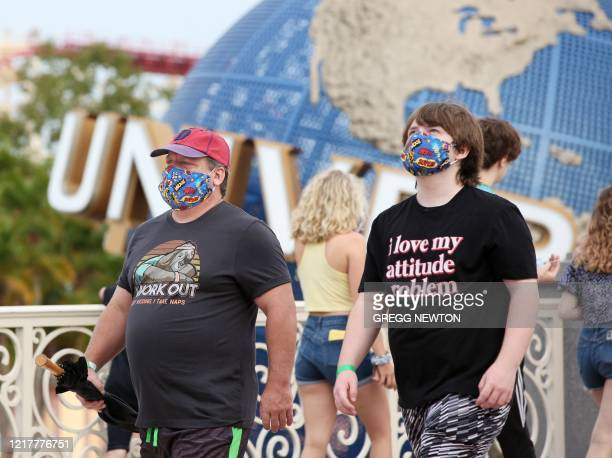 Visitors arrive at Universal Studios theme park on the first day of reopening after the shutdown during the coronavirus pandemic on June 5 in Orlando...