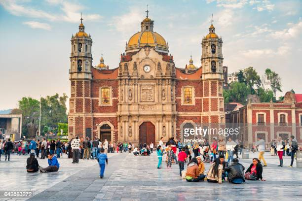 visitors at basilica of our lady of guadalupe mexico city - basilica of our lady of guadalupe stock pictures, royalty-free photos & images