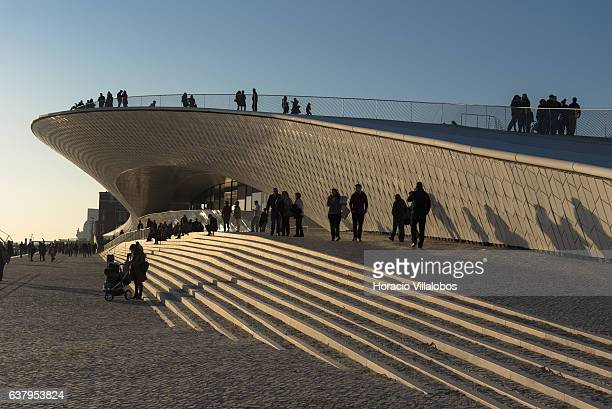 Visitors at MAATMuseu de Arte Arquitetura e Tecnologia on December 30 2017 in Lisbon Portugal Since its inauguration on October 2016 the MAAT...