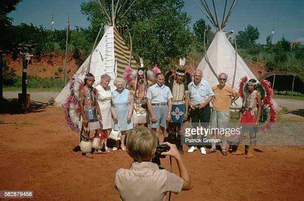Visitors at Native American Exhibit