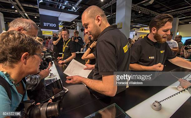 Visitors at Nikon stand in Photokina 2014 in Cologne Germany 18 September 2014 Photokina the world's leading imaging fair brings together the...