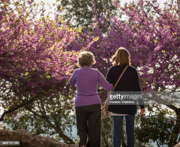 Visitors at one of the town gardens during Good Friday when the town receives many tourists attracted for Holy Week religious activities on April 14...