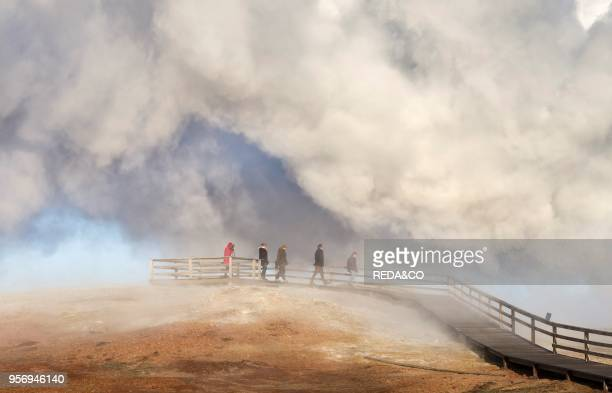 Visitors at the Gunnuhver geothermal area on Reykjanes peninsula during winter Europe northern Europe Iceland February