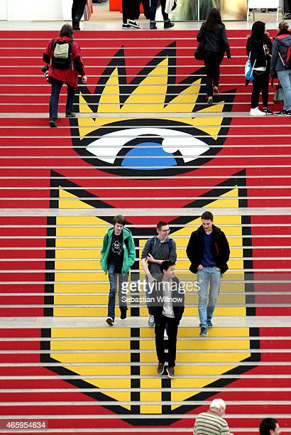 Visitors at the Leipzig Book Fair on March 12, 2015 in Leipzig, Germany. The Leipzig Book Fair is a reading festival that attracts more than 2000...