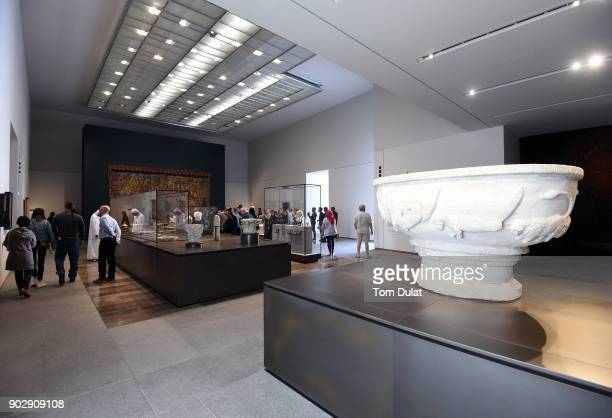 Visitors at the Louvre Abu Dhabi museum on January 9 2018 in Abu Dhabi United Arab Emirates