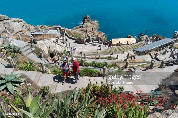 visitors at the minack an open air theatre near porthcurno in Cornwall England Britain uk