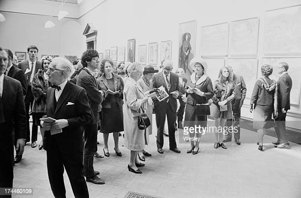 Visitors at the private view of the the Royal Academy Summer Exhibition London 28th April 1967