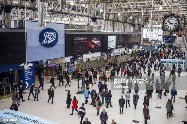 Visitors at the Waterloo station in London on 21 Febrauray 2018 London Waterloo station is one of the central station in the National Rail network in...