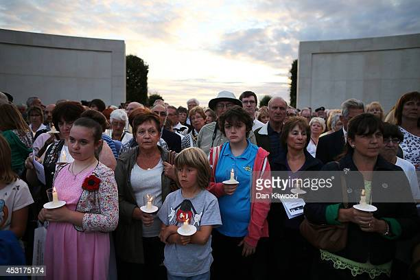 Visitors attend a Candlelit Vigil to mark the centenary of the First World War, at The National Memorial Arboretum on August 4, 2014 in Stafford,...