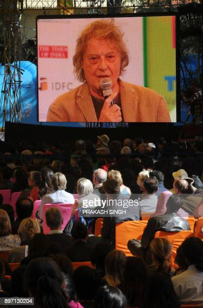 Visitors attend a discussion by British playwright Tom Stoppard at the DSC Jaipur Literature Festival in Jaipur on January 24 2012 The festival ended...