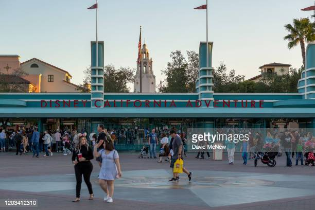 Visitors attend Disney California Adventure theme park on February 25 2020 in Anaheim California Bob Iger who was CEO of Disney since 2005 is being...