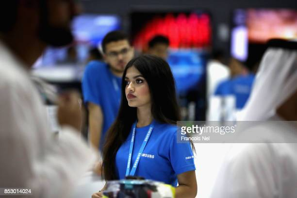 Visitors attend Gitex Shopper at World Trade Centre on September 24 2017 in Dubai United Arab Emirates