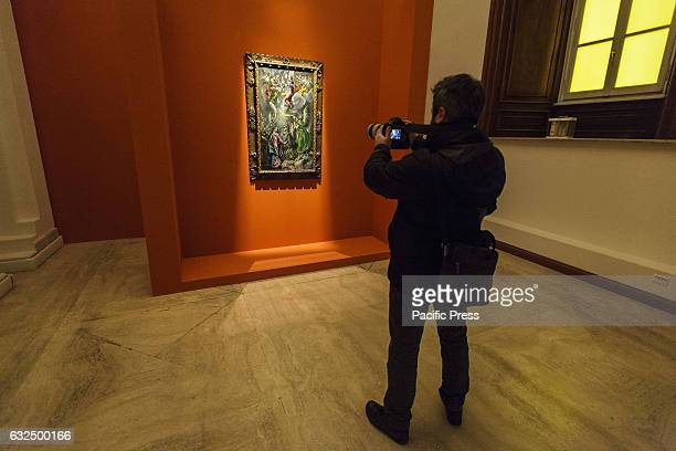 Visitors attend 'L'Annunciazione di El Greco' exhibition preview at the Capitoline Museums The exhibition opens to the public on January 24 and runs...
