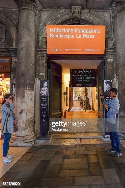 Visitors attend the collaterals exhibition 'Alberto Biasi, Sara Campesan, Bruno Munari e altri amici di Verifica 8+1' of Istituzione Fondazione...