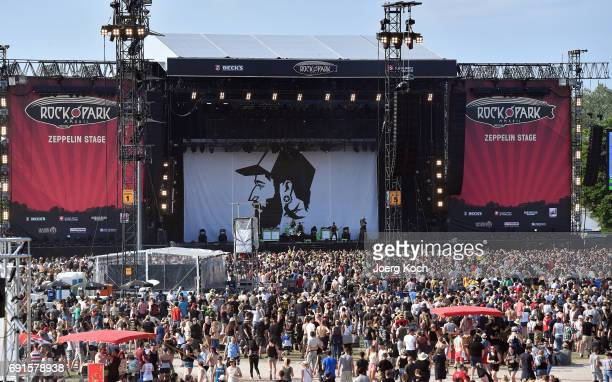 Visitors attend the gig of Wirtz at Rock im Park music festival at Zeppelinfeld on June 2 2017 in Nuremberg Germany
