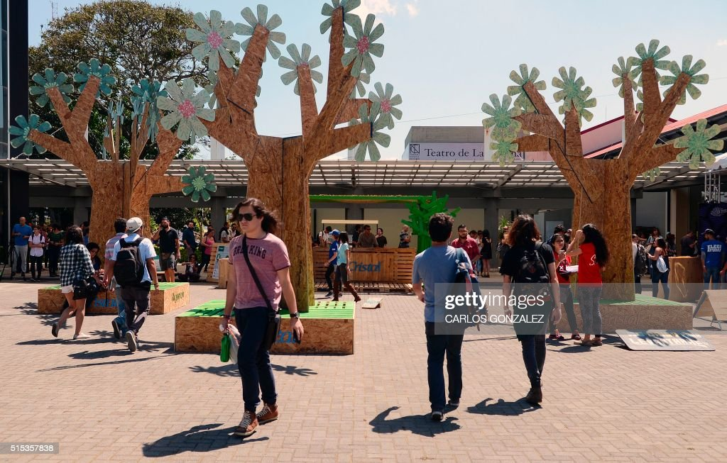 Visitors attend the International Design Festival (FID) in San Jose, Costa Rica, on March 10, 2016. Some hip designers in architecture, photography and even discreet sex toys got to strut their stuff in a three-day eclectic design showcase in Costa Rica.