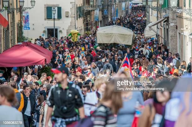 Visitors attend the Lucca Comics and Games on November 1 2018 in Lucca Italy