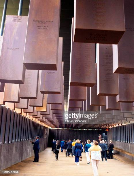 Visitors attend the opening of Bryan Stevenson's EJI National Memorial For Peace and Justice, Montgomery, Alabama, April 26, 2018.