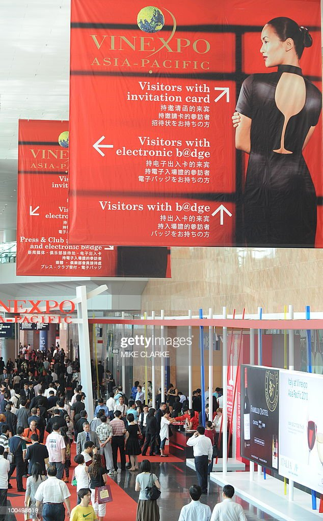 Visitors attend the VINEXPO Asia-Pacific in Hong Kong on May 25, 2010. The fourth Asian Vinexpo featuring 840 exhibitors from 32 countries opened in Hong Kong as the global economic crisis pushed exporters to focus on the world's most promising market: China. 'A little like 2009 vintage Bordeux, this Vinexpo is exceptional. There are more exhibitors and we expect more than 10,000 professionals, including a large number from China,' said chief executive Robert Beynat.