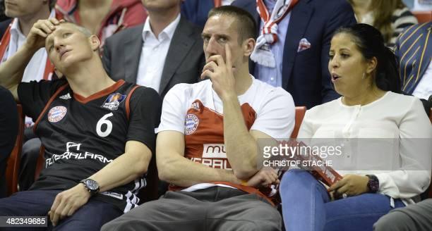 Visitors Bayern Munich's midfielder Bastian Schweinsteiger Bayern Munich's French football midfielder Franck Ribery and his wife Wahiba Belhami...