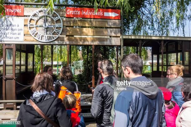 Visitors boarding train to the Caves of HansurLesse / Grottes de Han Belgian Ardennes Belgium