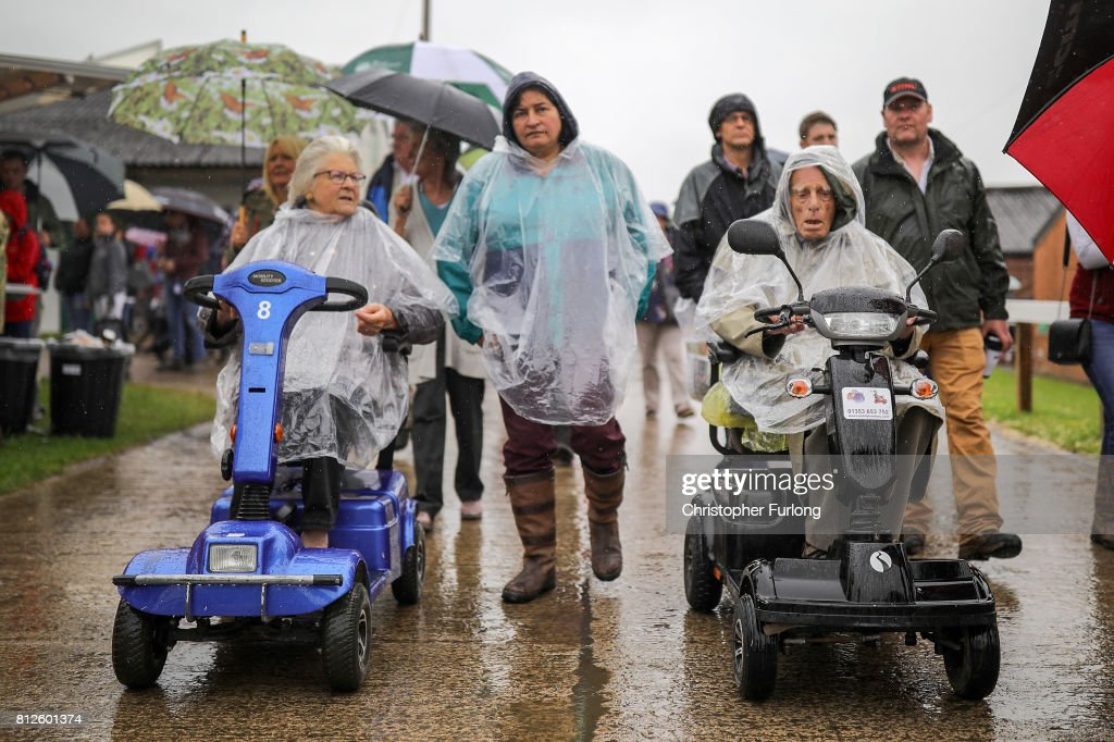Visitors brave the rain on the first day of the Great Yorkshire Show on July 11, 2017 in Harrogate, England. Despite inclement weather on the first day of the annual Great Yorkshire Show visitors flocked to the three day event first held in 1838. The show brings together agricultural displays, livestock events, farming demonstrations, food, dairy and produce stands as well as equestrian events. The popular agricultural show is over three days and celebrates the farming and agricultural community and their way of life.