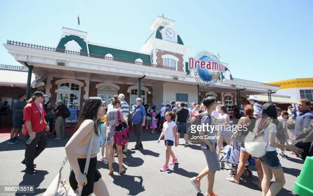 Visitors can be seen in this general view at Dreamworld on October 25 2017 in Gold Coast Australia Four people were killed following an accident on...