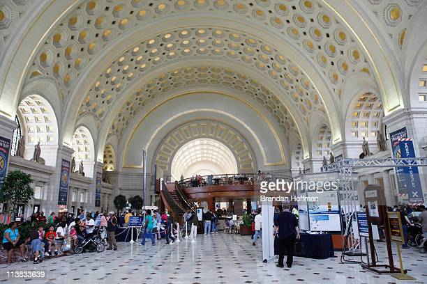 Visitors celebrate National Train Day at Union Station on May 7 2011 in Washington DC