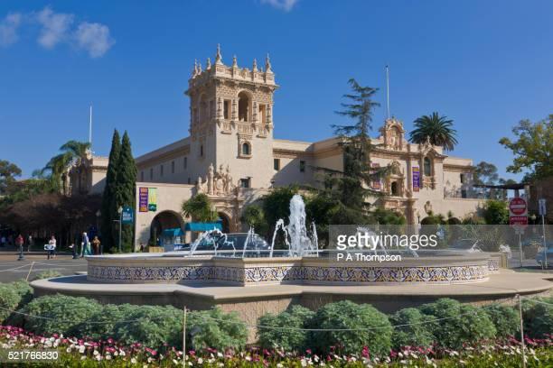 Visitors Centre and fountain, Balboa Park, San Diego, California, USA
