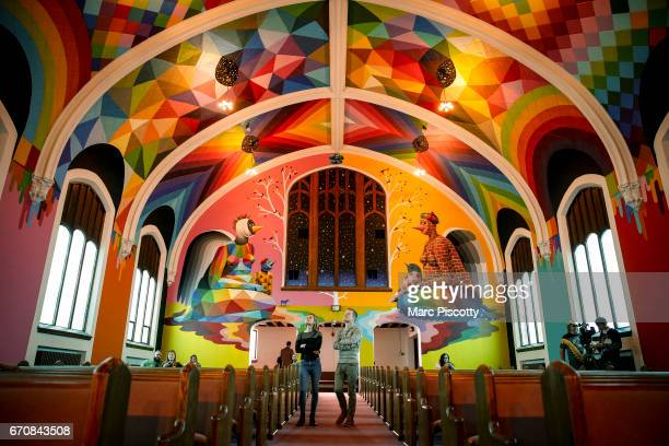 Visitors check out the artwork at the opening of the International Church of Cannabis in Denver Co on April 20 2017 The opening coincides with 420...