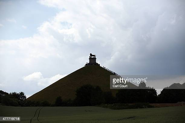 Visitors climb the Lion's Mound memorial which marks the spot on the battlefield of Waterloo where a musket ball struck the shoulder of William II of...
